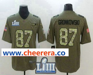 Men s New England Patriots  87 Rob Gronkowski Olive With Camo 2019 Super  Bowl LIII Patch Salute To Service Stitched NFL Nike Limited Jersey e6c69fbfb