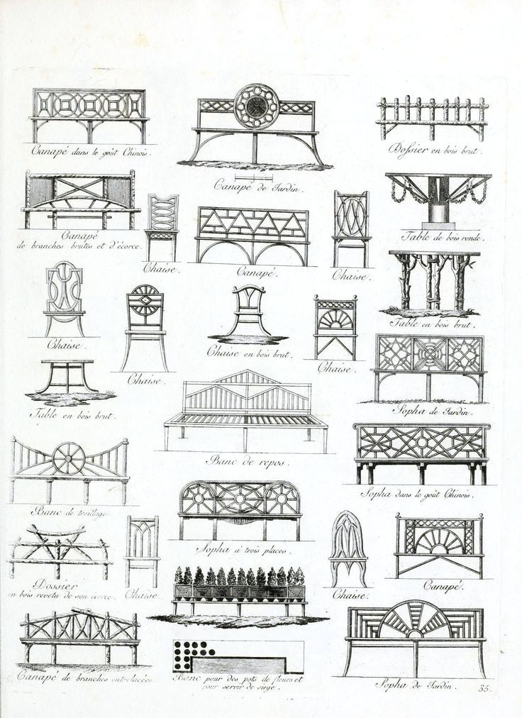 Modern Furniture Drawings vintage french garden furniture drawings | benches | pinterest