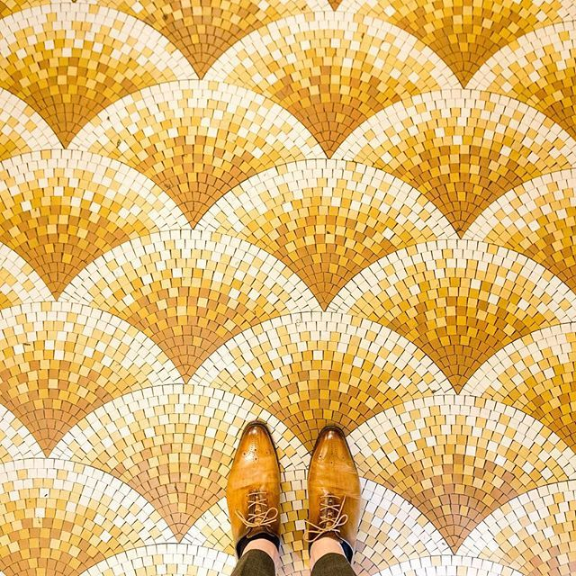 75006 - Boulevard Saint-Germain  Couldn't resist snapping another picture of this beautiful floor last week. #parisianfloors#ihavethisthingwithfloors#fromwhereistand#selfeet#paris#cafedeflore#cafe#coffee#saintgermain#floor#mosaic#tiles#carrelage#pattern#design#interiordesign#shoes#leathershoes#patina#andressendra