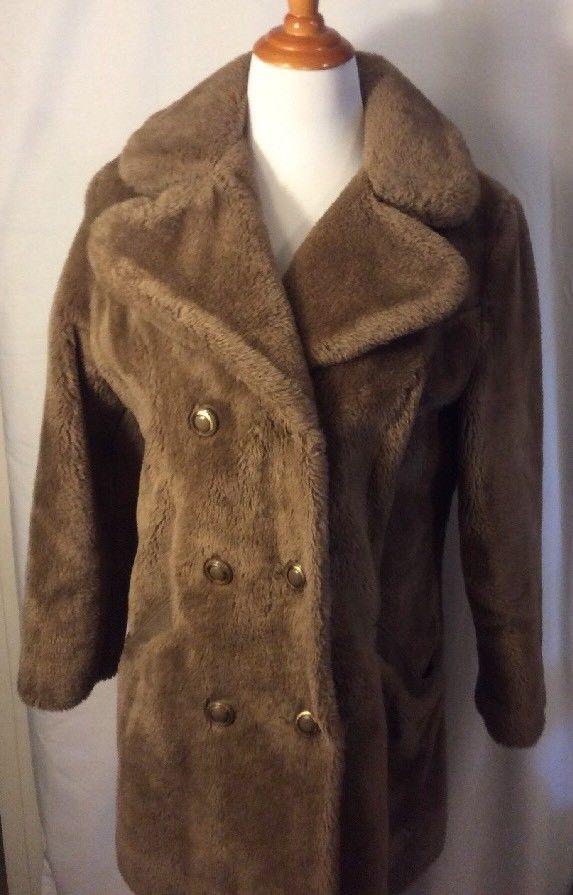 Sears Fashions Vintage 60s Plush Pile Faux Fur Double Breasted Coat L Sears Basiccoat Coat Double Breasted Coat Fashion