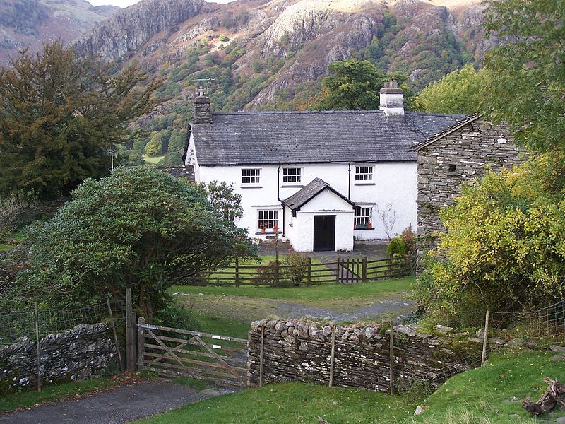 Yew Tree Farm - a traditional English farm house in a stunning setting, once owned by children's book author/illustrator and Lake District conservationist Beatrix Potter. Now owned by the British National Trust. Coniston, Cumbria, England, UK