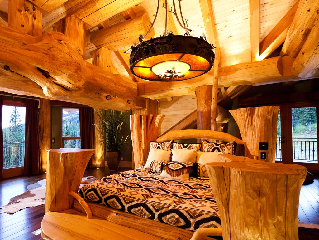 A Pioneer Log Homes Of BC Custom Made Log Bed. Www.pioneerloghomesofbc.com