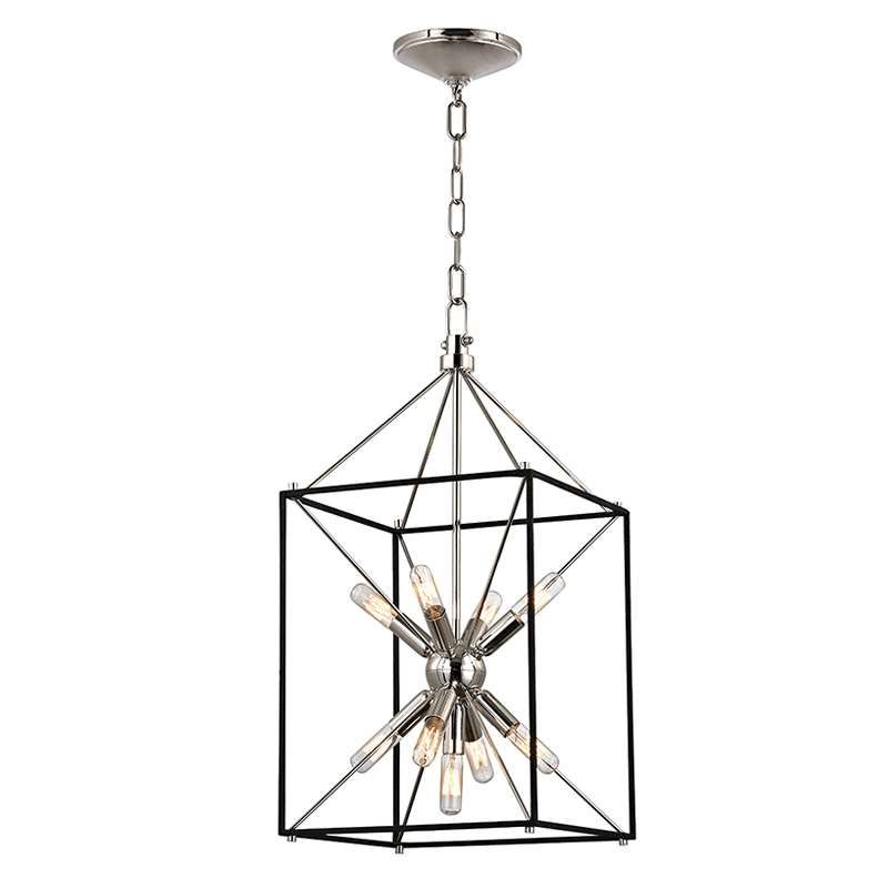 24.75In -Height  12.25In -Width  :: Hudson Valley Lighting Glendale 9 Light Pendant 8912 in Aged Brass & Polished Nickel from Luxury Lighting Direct, Free Shipping, Rated #1 Customer Service