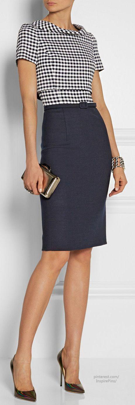 Výsledok vyhľadávania obrázkov pre dopyt blue belted pencil skirt with tucked grey pullover