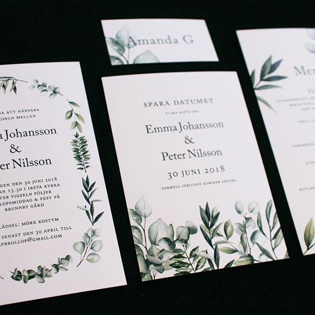 adaca714eee8 Ny kollektion -Gröna blader krans. #inbjudningskort #savethedate  #sparadatumet #menykort #