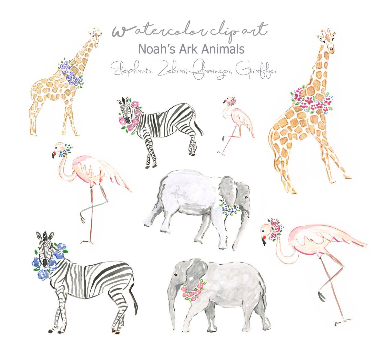 Noah S Ark Animals Clip Art Collection Watercolor Animals Elephants Zebras Giraffes Scrapbook Watercolor Elephant Noahs Ark Nursery Noahs Ark Animals