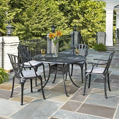 Astoria Grand Frontenac 5 Piece Dining Set With Cushions In 2021 Patio Furniture Cushions Black Patio Furniture Patio Dining Set