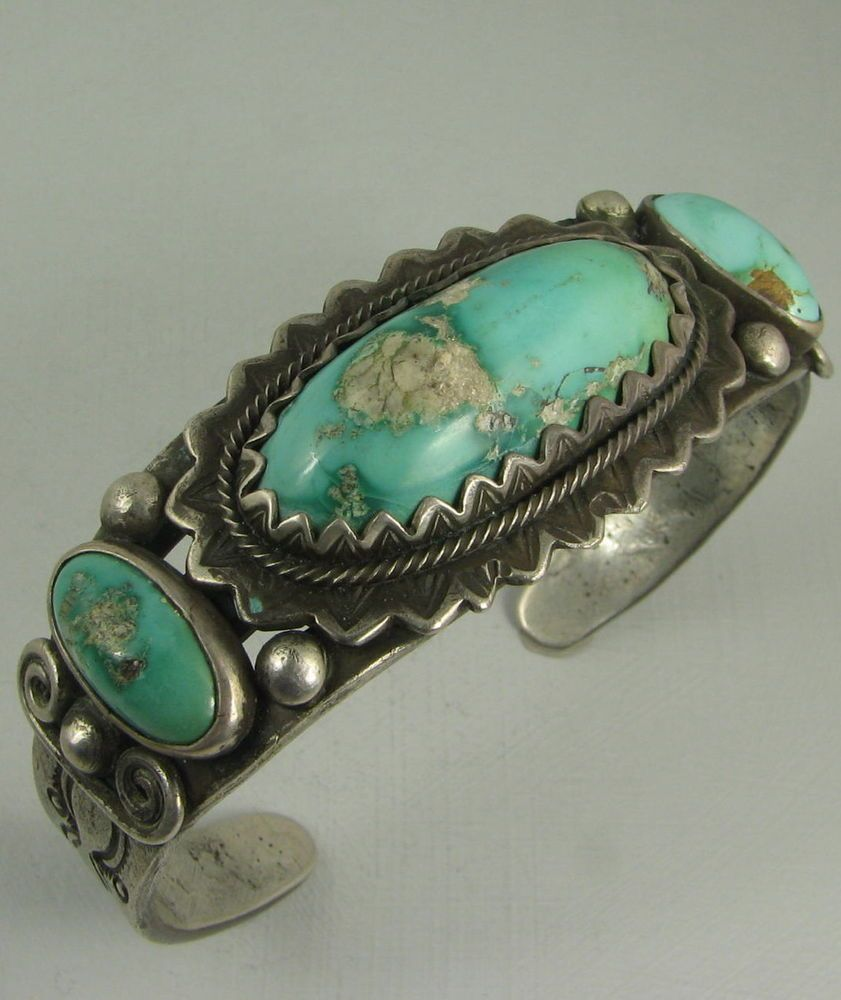 silver turquoise item bracelet trading rock vintage navajo native american jewelry eagle post leaves flowers bracelets