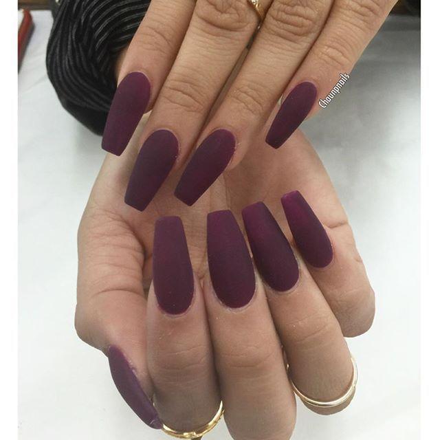 Instagrin Wine Nails Purple Nails Fake Nails