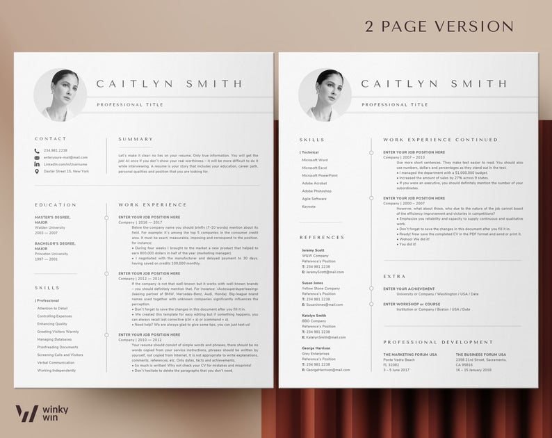 Resume Template Cv Template Professional Resume Template Word Creative Resume Template With Photo Modern Resume Templates Instant Download Resume Template Etsy Cv Template Professional Resume Template