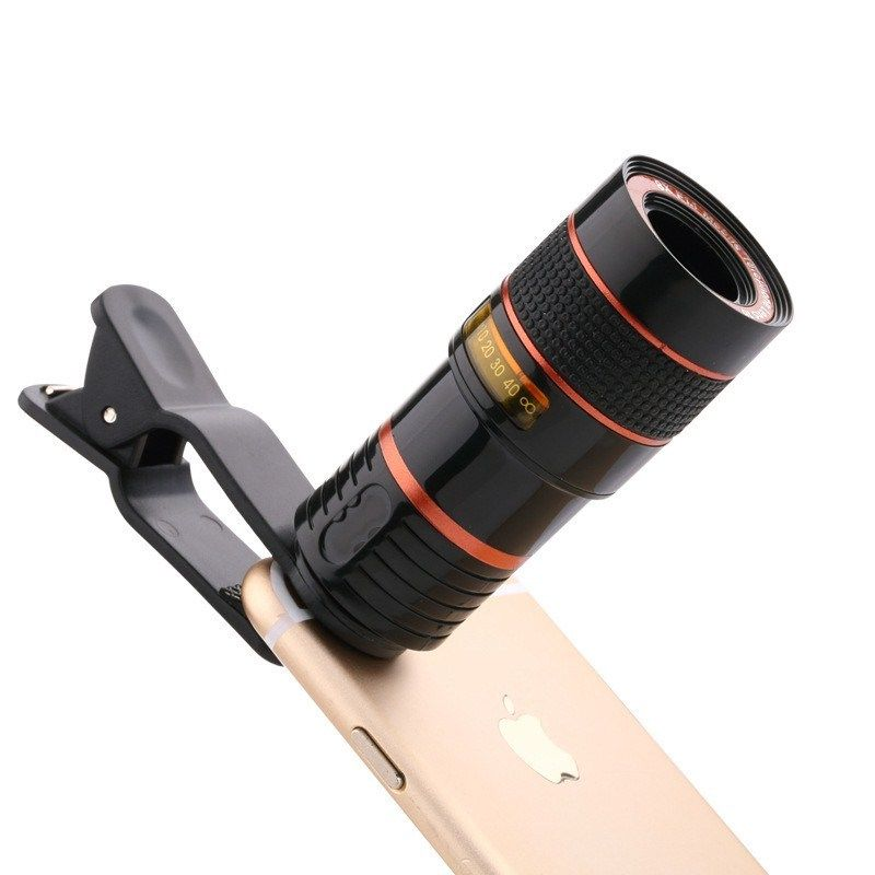 Universal 12x Optical Zoom Phone Lens Telephoto Clip-on HD External SLR Lens