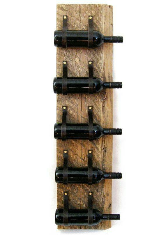Casier à vin en cuir bois récupéré bois et recyclé porte bouteille mural cuir 5 bouteille plus