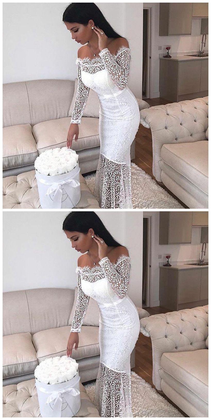 3afc6b2ae87 Mermaid Off the Shoulder Long Sleeve Floor-Length White #prom #prom dress # dress #evening dress #evening #fashion #love #shopping #art #dress #women  ...
