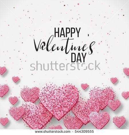 Happy Valentine Day Festive Sparkle Layout Template Design Glitter Pink Hearts On White Background With Frame Happy Valentines Day Valentines Happy Valentine