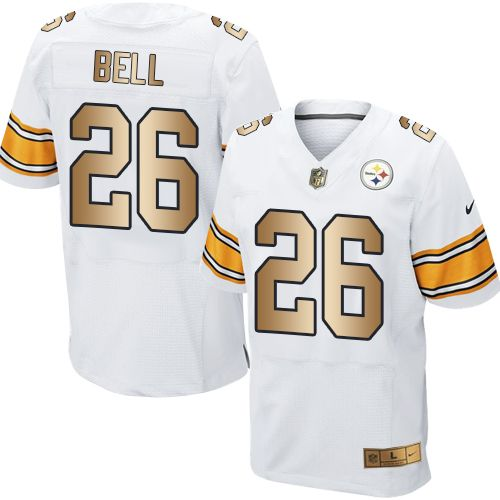 a18768ba45e Nike Steelers  26 Le Veon Bell White Men s Stitched NFL Elite Gold Jersey