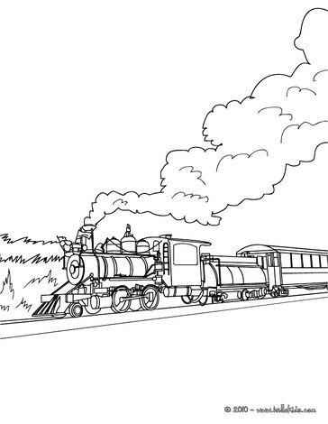 Rail engine in the landscape coloring page can color