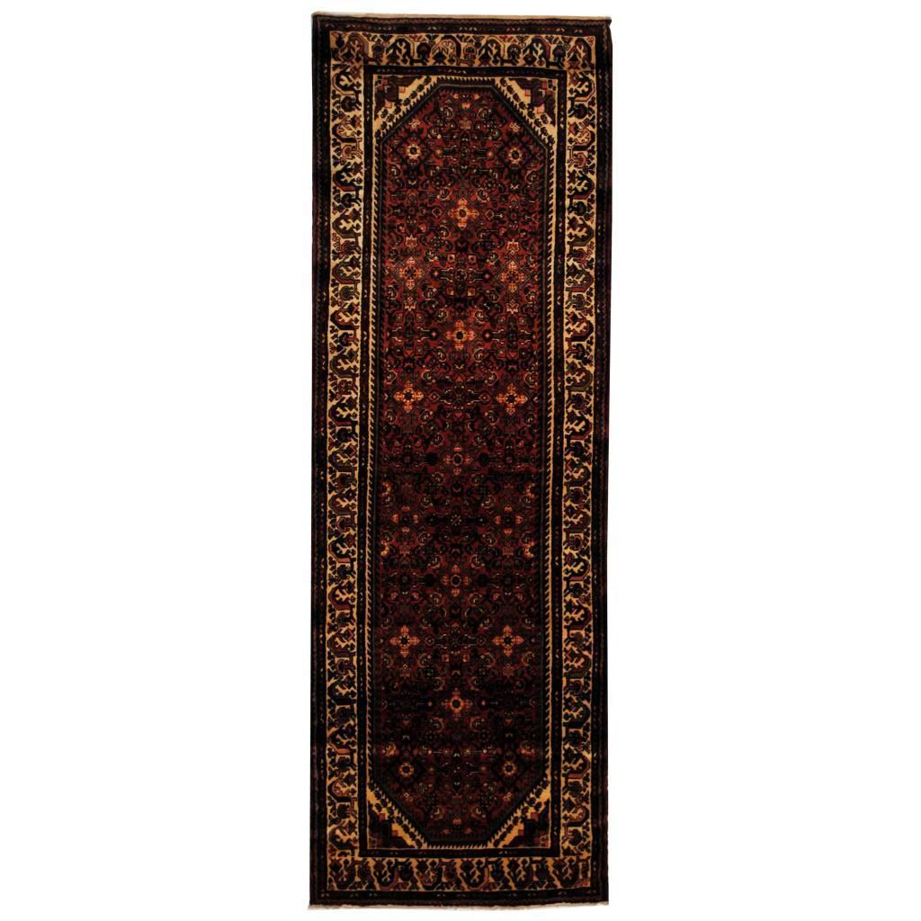 Herat Oriental Antique 1960's Persian Hand-knotted Tribal Husianabad Hamadan Rust/ Ivory Rug