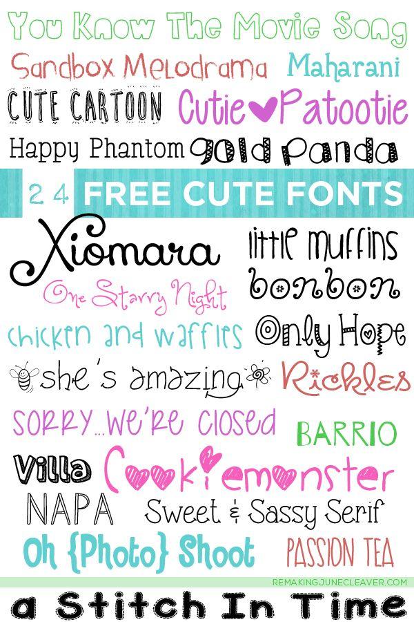 24 Free Cute Fonts Remaking June Kid fonts, Cute fonts