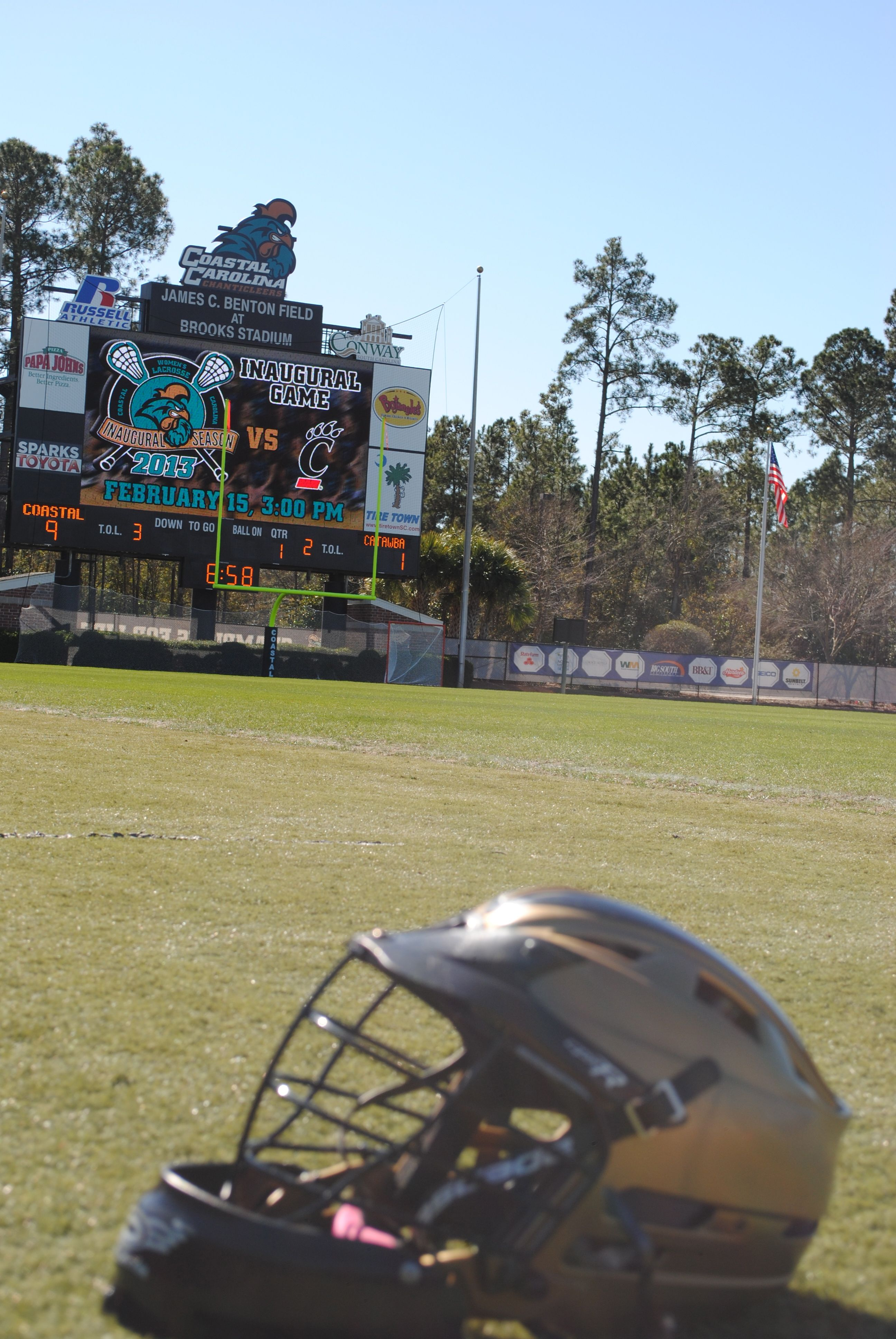 Teal and Bronze Womens lacrosse, Baseball field
