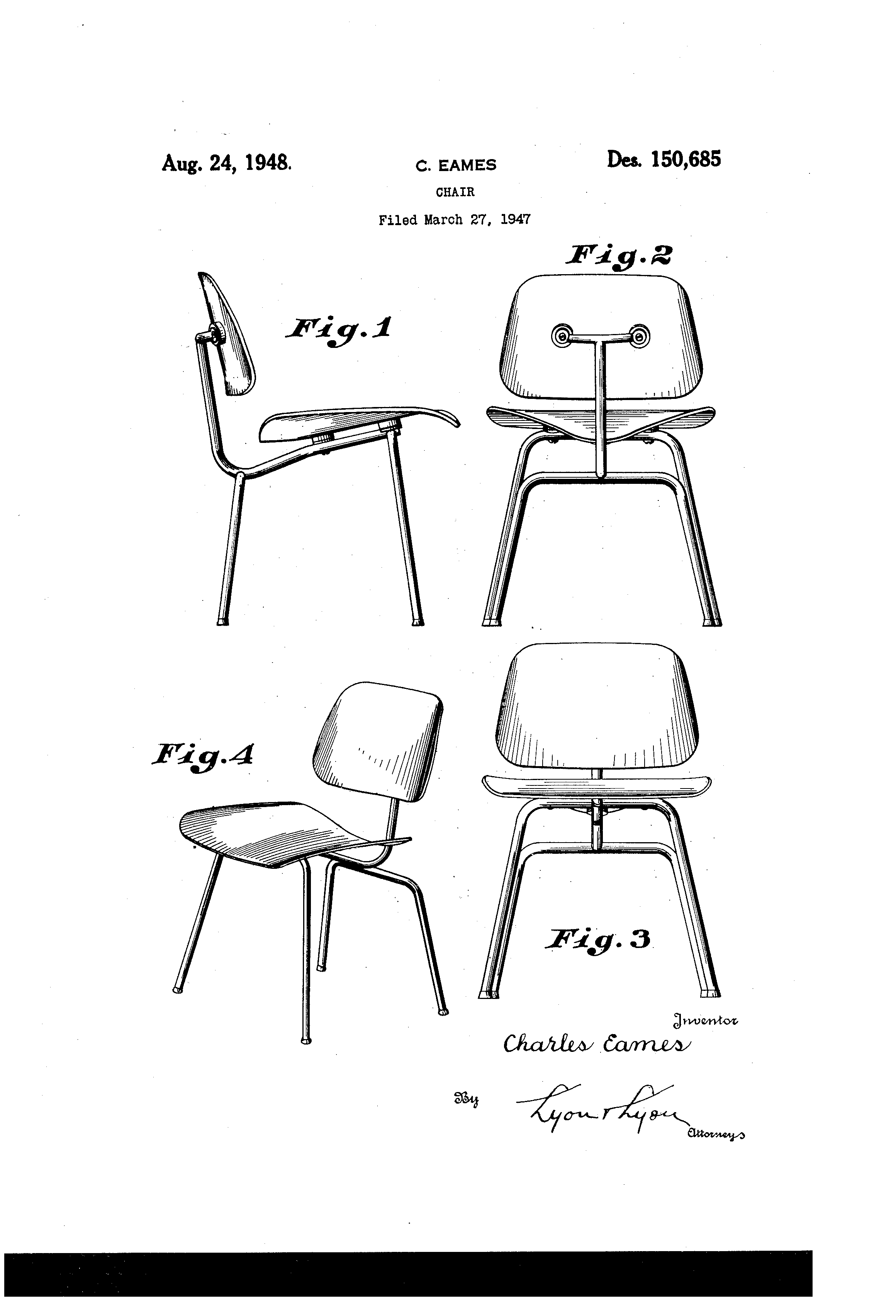 Eames Chair Patent Patent Usd150685 Design For A Chair Google Patents