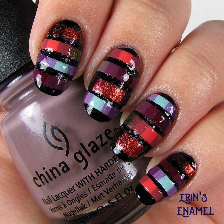 Concrete And Nail Polish Striped Nail Art: Nail Art, Nail Polish, Nails