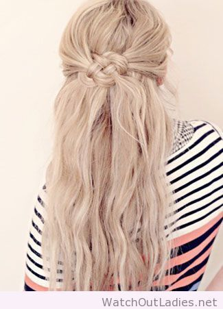 This Woven Knot Gives A Half Up Hairstyle A Nautical Feel Hair Styles Long Hair Styles Hair Knot Tutorial
