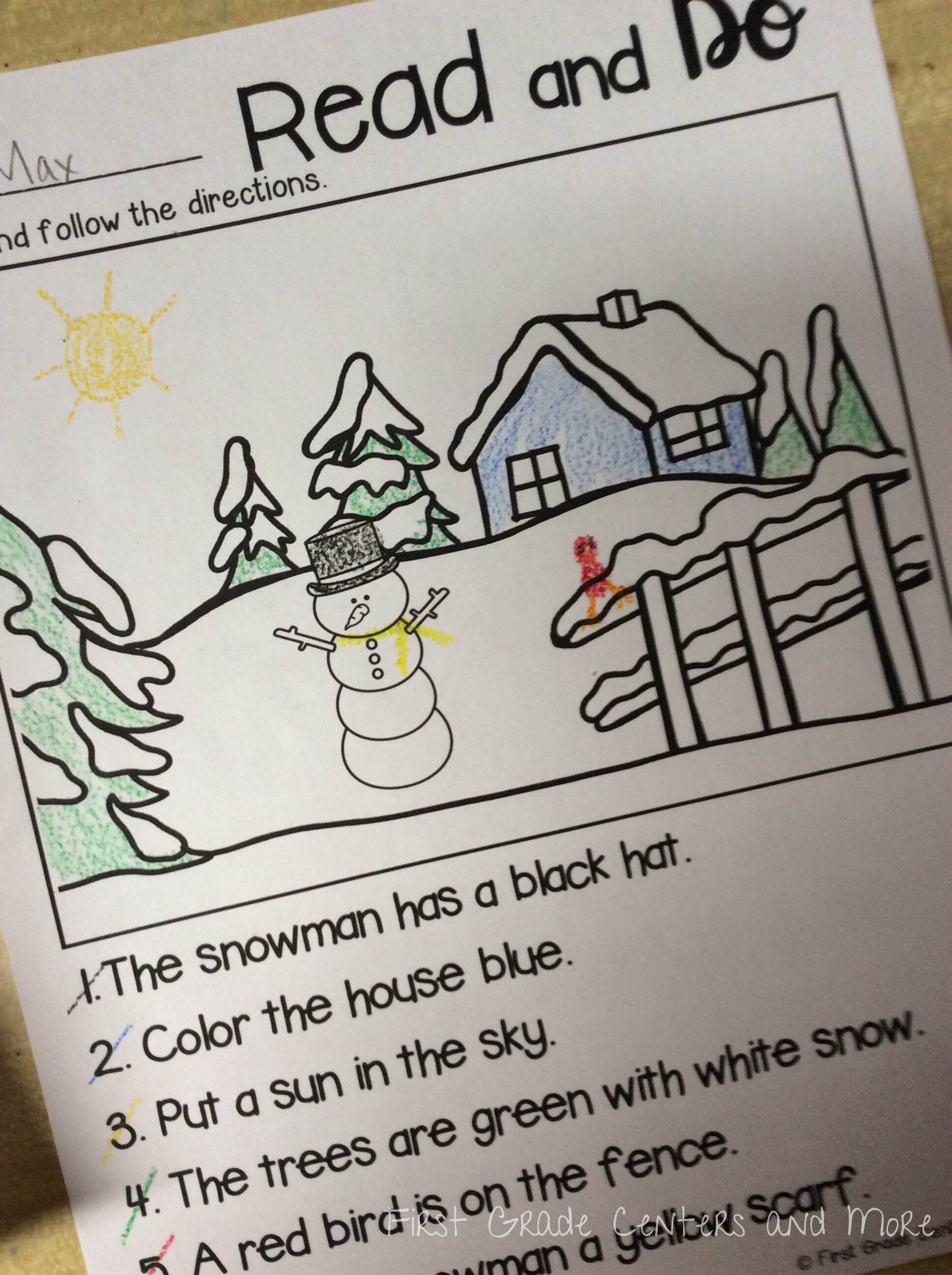 Winter Worksheets First Grade