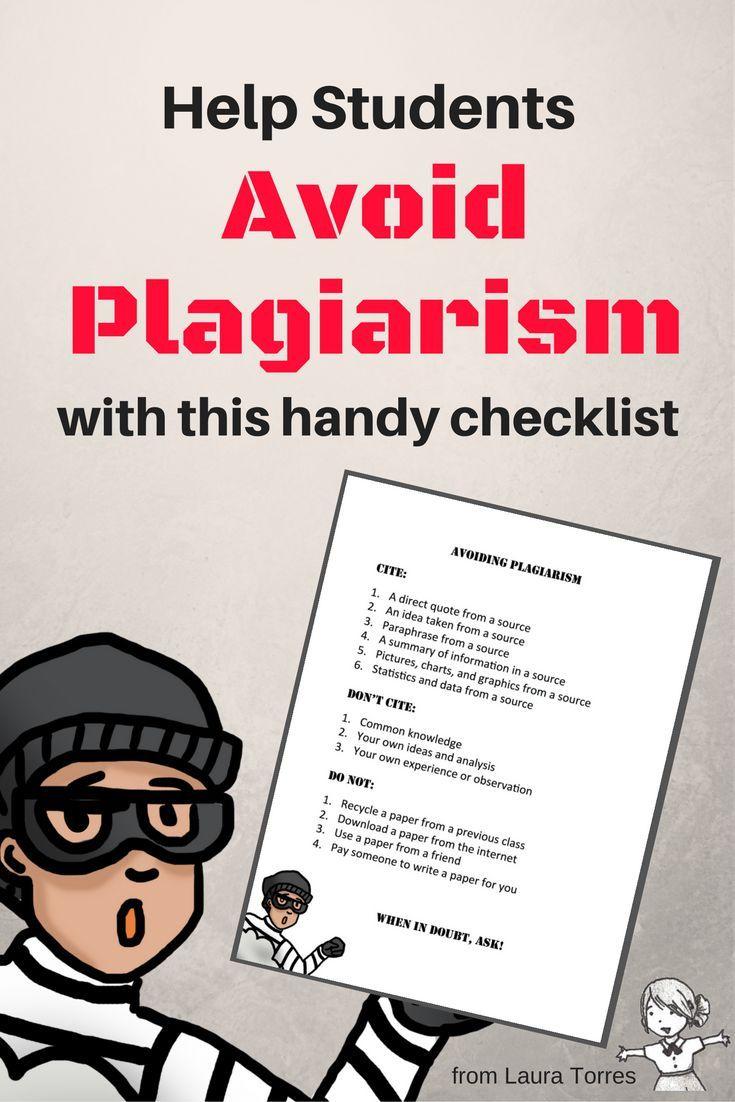 Avoiding Plagiarism Checklist Teaching Writing Ela Lesson Paraphrasing Someone Work I Plagarism