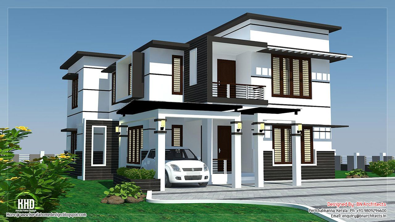 Etonnant Remarkable White And Black Modern House Design Idea With White Wall With  Black Accents, Balcony With Black Balustrade, Brown Window Frame, And White  Car