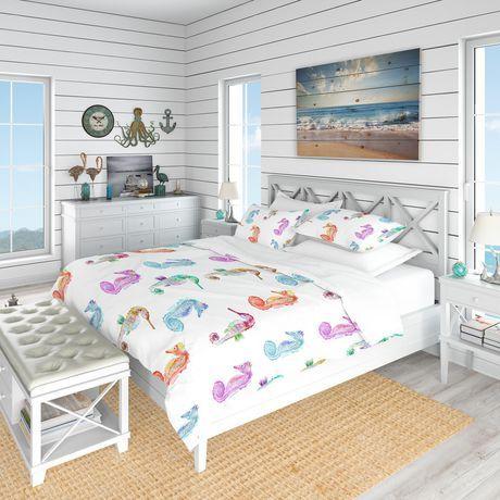 Design Art Designart Pattern With Multicolored Seahorses Nautical Coastal Duvet Cover Set White Coastal Bedding Sets Tropical Bedding Sets Beach Bedding Sets