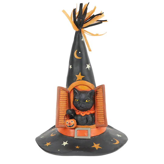 Shop For The 10 Black Cat In Witch Hat Tabletop Decor Accent By Ashland At Michaels Halloween Displays Witch Hat Table Top Decor