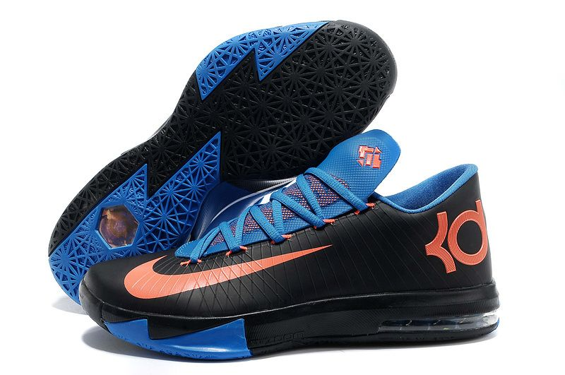 newest 1c39e 103ed Nike Zoom Kevin Durant KD 6 Black Blue Orange Basketball Shoes   Nike  Basketball Shoes   Pinterest   Orange basketball shoes, Nike zoom and Kevin  durant