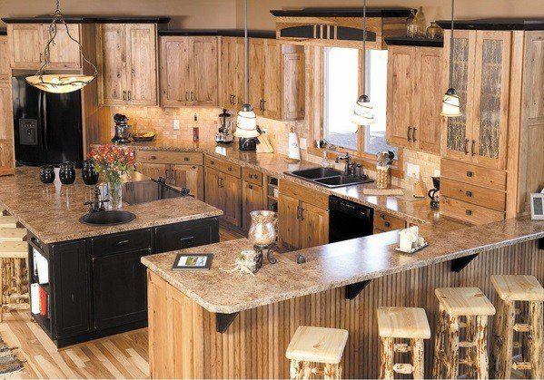Rustic Hickory Cabinets Hardwood Flooring Wood Bar Stools