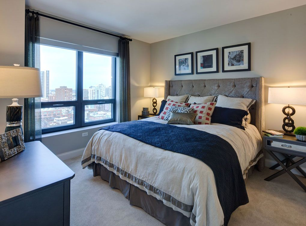 Model Bedroom At Amli River North A Luxury Apartment Community In Chicago Amli River North