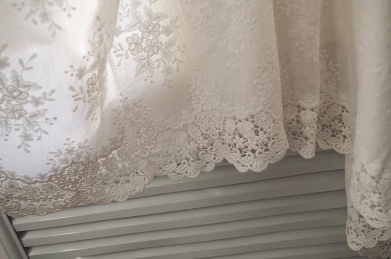 Cream Cotton Eyelet Lace Fabric With Retro Floral Pattern By Etsy In 2021 Eyelet Lace Fabric White Lace Fabric Lace Curtains