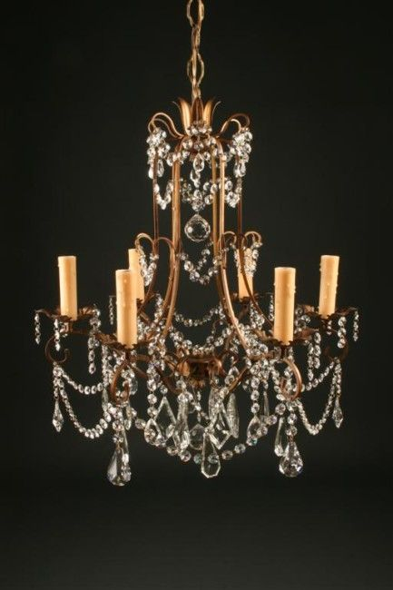 6 Arm Antique Iron And Crystal Chandelier Made In Italy
