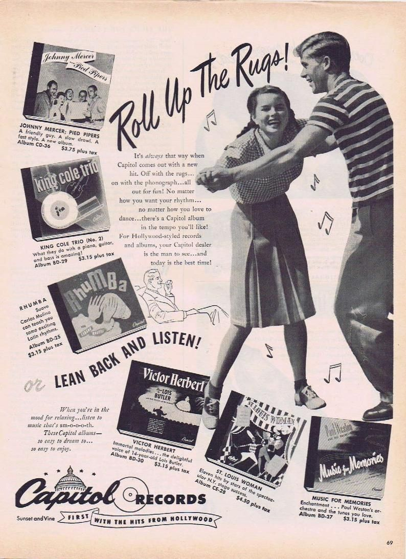 Capitol records Old Magazine Advertising poster reproduction
