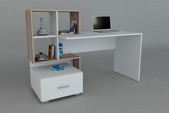Bureau bloom blanc et imitation bois clair bureau