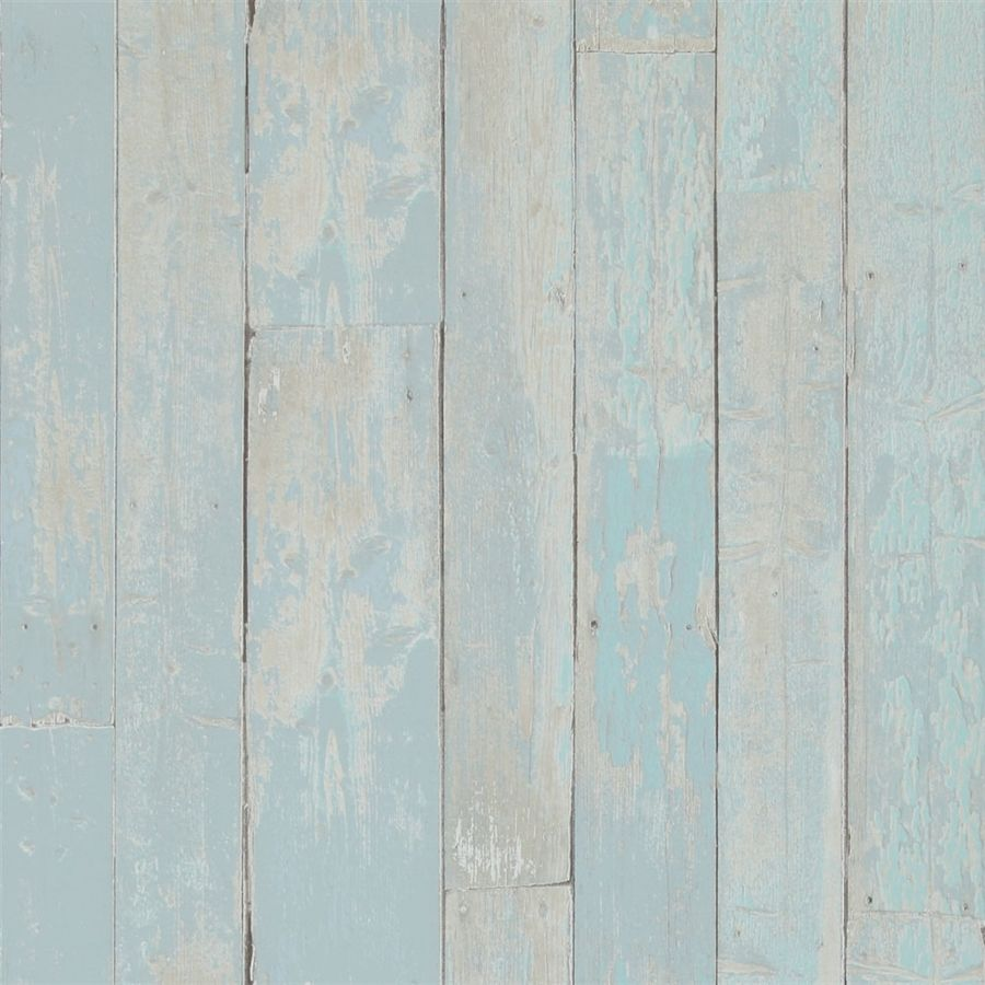 Color Hut Textures: Pastel Blue Faux Wood Stained Plank Home Wallpaper R2595