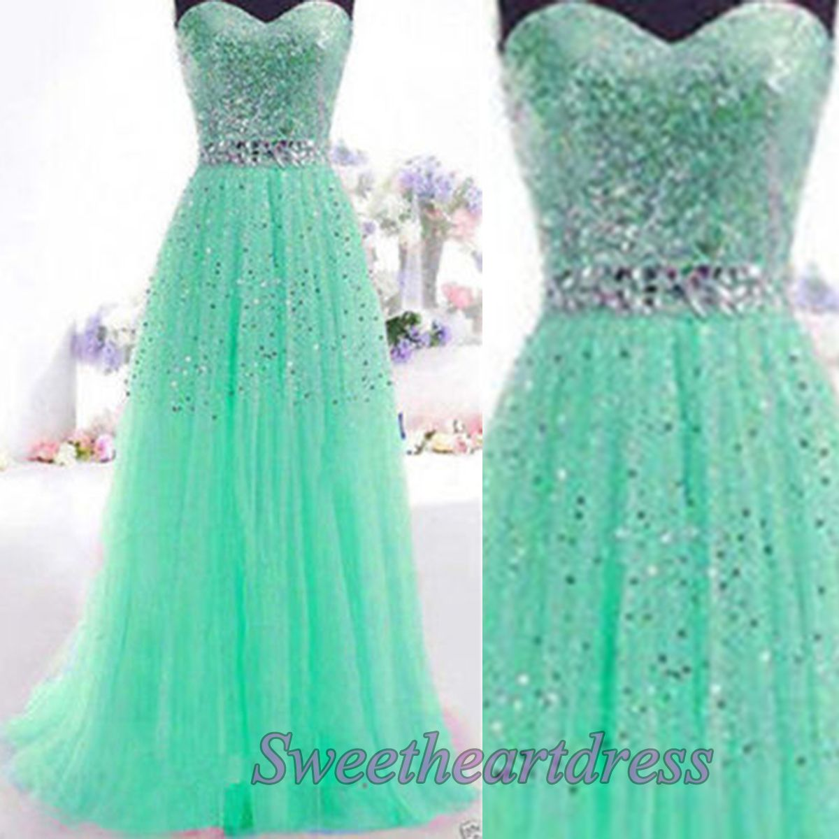 2016 sparkly green tulle long prom dress for teens #coniefox ...