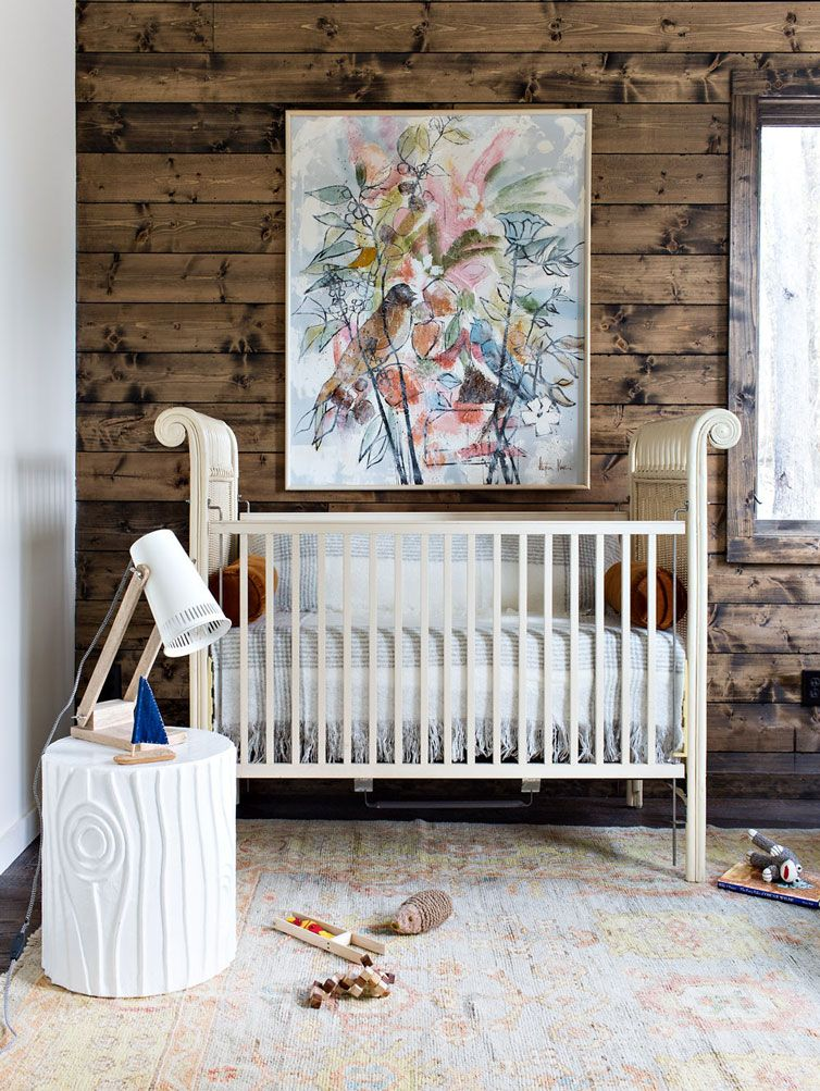Love this woodsy nursery featuring the Stump Stool by Stray Dog Designs. #inspiredbylife #straydogdesigns
