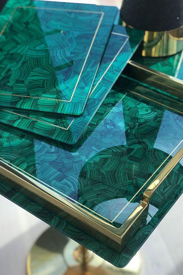 Malachite Place Mats Set Of 4 Forwood Design Diy Resin Art Jewelry Supplies Malachite Decor