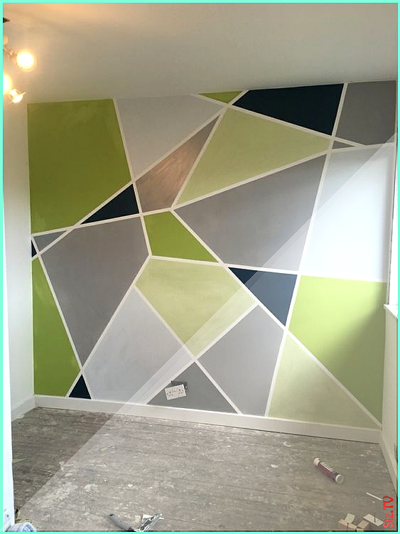 Geometric Wall Paint Design Ideas With Tape 2019 Trends