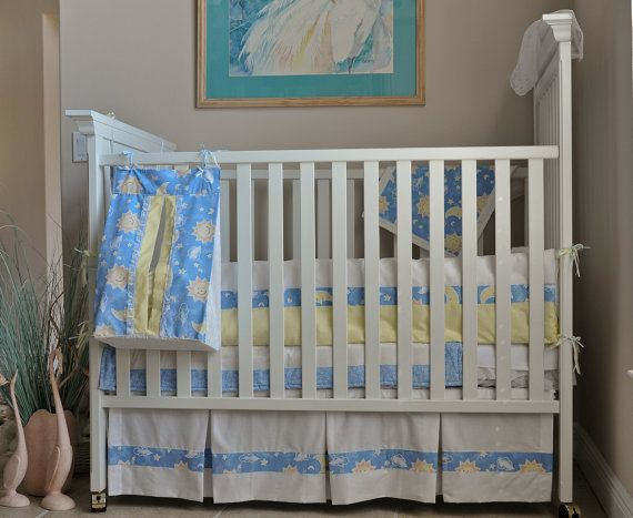 Custom 8 Piece Quot Sweet Dreams Quot Blue Yellow Sun Moon Stars Baby Infant Crib Bedding Set With Bumper Pad Baby Bedding Sets Cribs Unique Baby Bedding