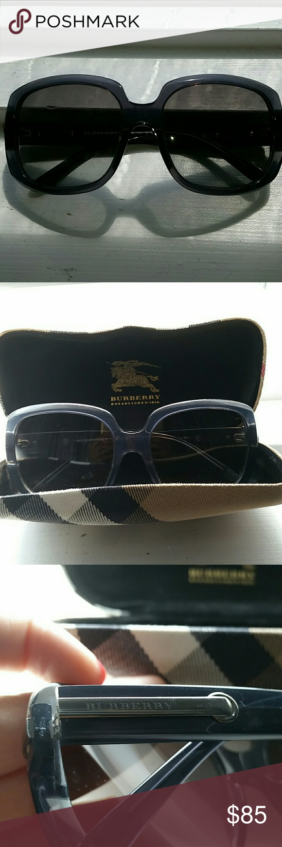 Authentic! Burberry Sunglasses AUTHENTIC! Blue Burberry Sunglasses with case. In perfect condition with no scratches NO LOW BALL OFFERS PLEASE! Burberry Accessories Sunglasses