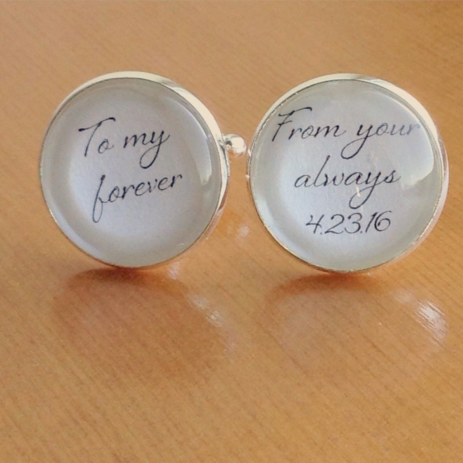 Bride asked me to personalize her groom cuff links with