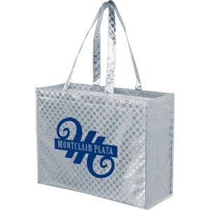 Metallic Designer Laminated Tote    Style #:  3529-LP16613    Get noticed with this Metallic Designer Laminated Tote featuring non-woven polypropylene metallic checkered design lamination. Tote features a smoother texture than conventional non-woven bags. Lamination provides additional structure and strength. Eye-catching colors and finish attract more attention to your logo.     Available in gold or silver  Price includes 1 color, 1 location screen print