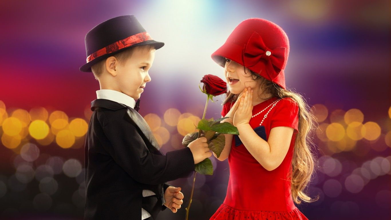 Download Wallpaper Valentine S Day Love Couple Rose Boy Little
