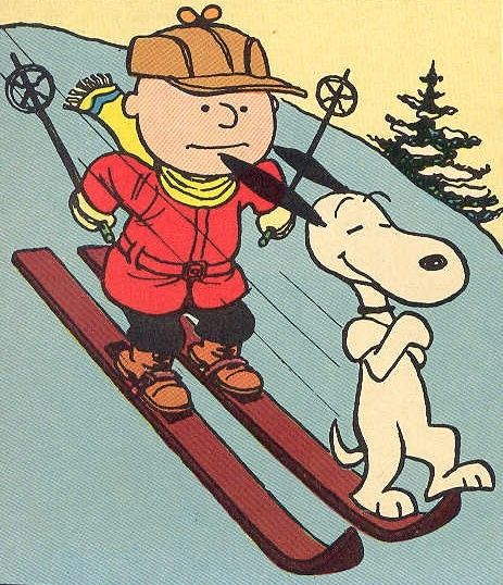 Charlie Brown and Snoopy try 'Down Hill Skiing'.