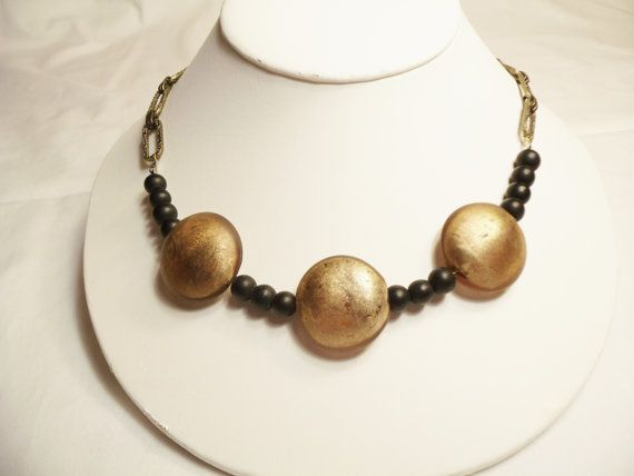 1/2 price sale through October 31, use SUMMER50...Necklace Antique Gold Chain Gold Chunky Glass Beads by CindyDidIt